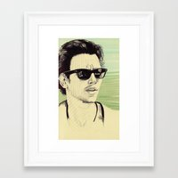 james franco Framed Art Prints featuring James Franco by beecharly