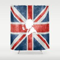 sherlock holmes Shower Curtains featuring SHERLOCK HOLMES - BRITISH by alexa