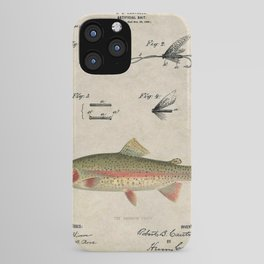 Vintage Rainbow Trout Fly Fishing Lure Patent Game Fish Identification Chart iPhone Case