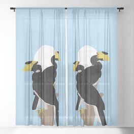Malabar pied hornbills Sheer Curtain