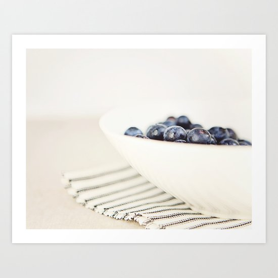 Blueberries in Bowl - Kitchen Art - Food Photography Art Print