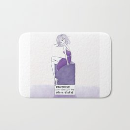 Woman wearing a violet dress sitting on a Pantone Ultra violet color of the year  2018 chip Bath Mat
