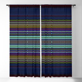 Blue & Gold Rag Weave by Chris Sparks Blackout Curtain