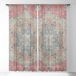 Antique Red Blue Black Persian Carpet Print Sheer Curtain