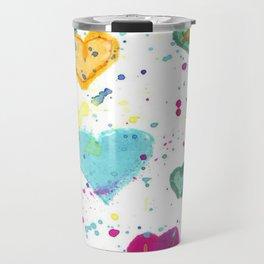 Colorful Heart Pattern Paint Splatters Travel Mug
