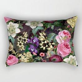 Vintage & Shabby Chic - Redouté Flower Bouquets on Black Rectangular Pillow