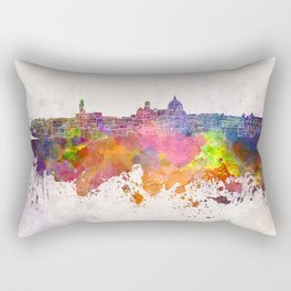 Florence skyline in watercolor background Rectangular Pillow