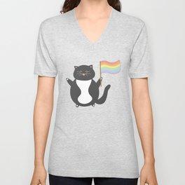 pastel gay pride cat Unisex V-Neck