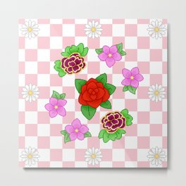 Pixel Flower Pattern Metal Print