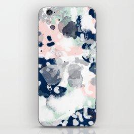 Melia - abstract minimal painting acrylic watercolor nursery mint navy pink iPhone Skin