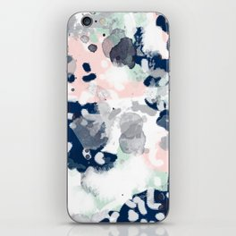 Melia - abstract minimal painting acrylic watercolor nursery mint navy pink iPhone Skin