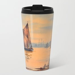 Barges On The River Thames Greenwich London Travel Mug