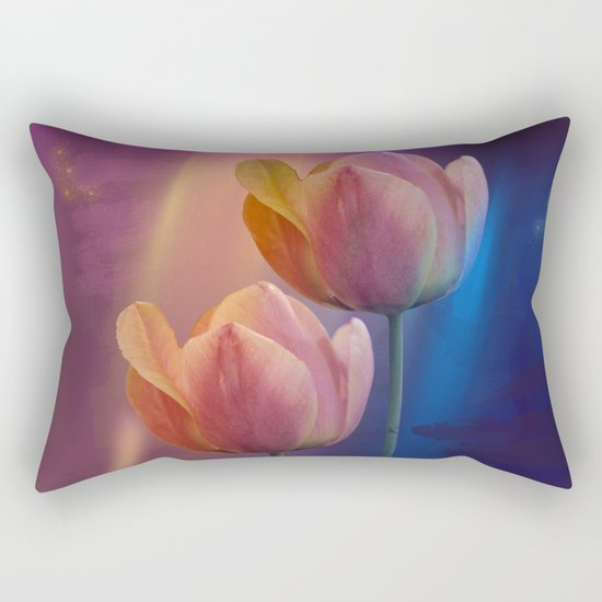 Towards the light, mixed media art with Tulips Rectangular Pillow