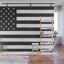 American Flag Stars and Stripes Black White Wall Mural