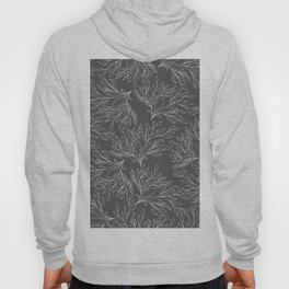 Modern hand drawn gray white leaves pattern Hoody