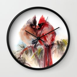 Cardinal Birds Couple Wall Clock