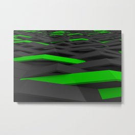 Black and green plastic waves Metal Print