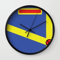 xmen Wall Clocks featuring Cyclops - Minimalist - XMen by Adrian Mentus