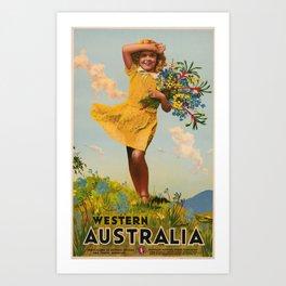 Western Australia vintage travel ad Art Print