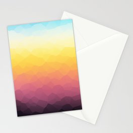 Low-Poly Mountain Sunset Stationery Cards