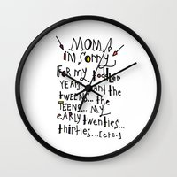 toddler Wall Clocks featuring Sorry for my toddler years by Tonya Doughty