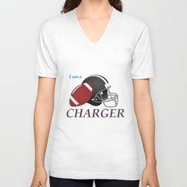 True Charger American Football Design black lettering Unisex V-Neck