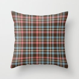 Tartan - Pink, Blue and Dust on a brown background Throw Pillow