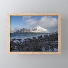 White, blue and grey Framed Mini Art Print
