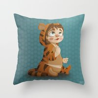 tigger Throw Pillows featuring Tigger pajama girl by Javier Robles