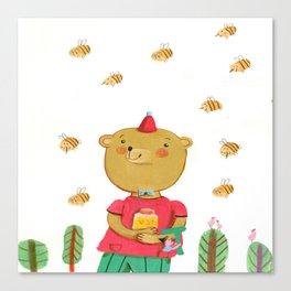 Honey Bear, Busy Bees Canvas Print