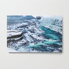 Gulfoss Waterfall Iceland Metal Print