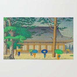 Asano Takeji Rain At Sanjusangendo Temple Vintage Japanese Woodblock Print East Asian Culture Rug