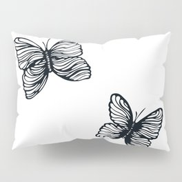 black and white butterfly drawing Pillow Sham