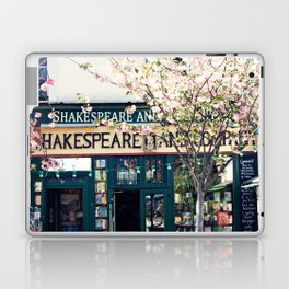 Cherry blossoms in Paris, Shakespeare & Co. Laptop & iPad Skin