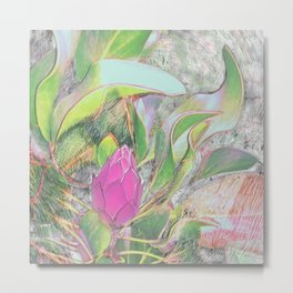 Protea Sketching in Bright Lights Metal Print