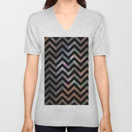 Abstract black pink teal watercolor nebula chevron Unisex V-Neck