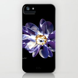 Blue & Gold Flower iPhone Case
