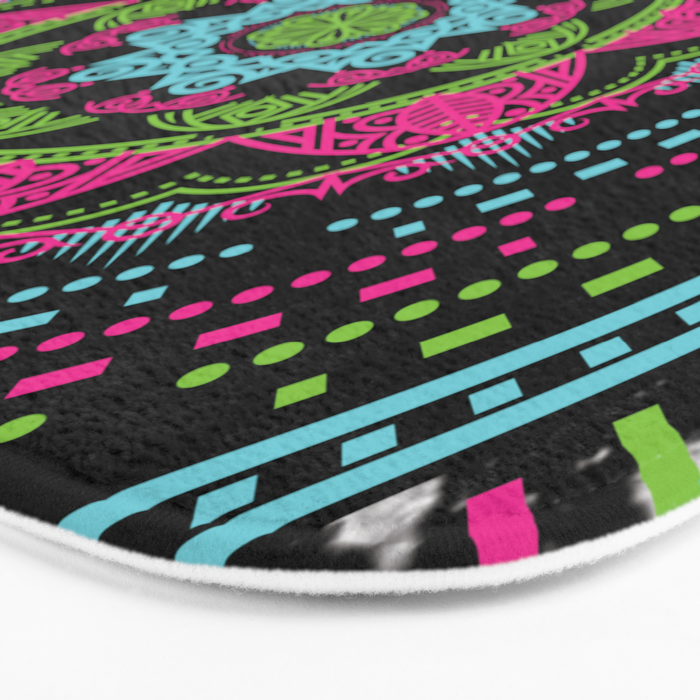 Mandala Energy in Neon Bath Mat