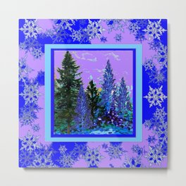 BLUE-LILAC WINTER SNOWFLAKE CRYSTALS FOREST ART DESIGN Metal Print