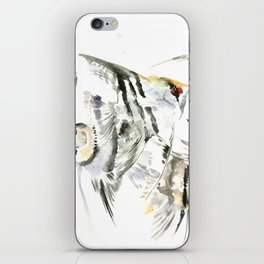 Fish Zebra Design, Angelfish aquarium design, underwater scene, black and white iPhone Skin