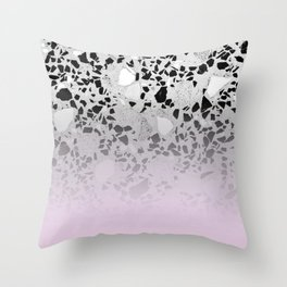 Concrete and Black Marble Mix Pink Gradient Throw Pillow