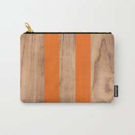 Striped Wood Grain Design - Orange #840 Carry-All Pouch