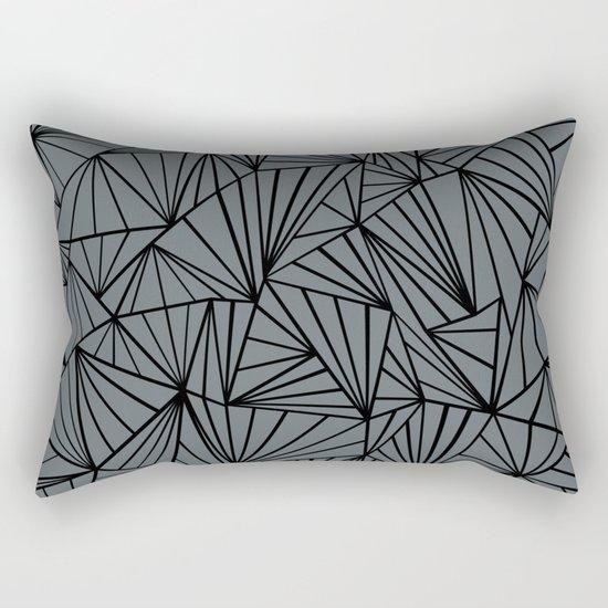 Ab Fan Grey and Black Rectangular Pillow