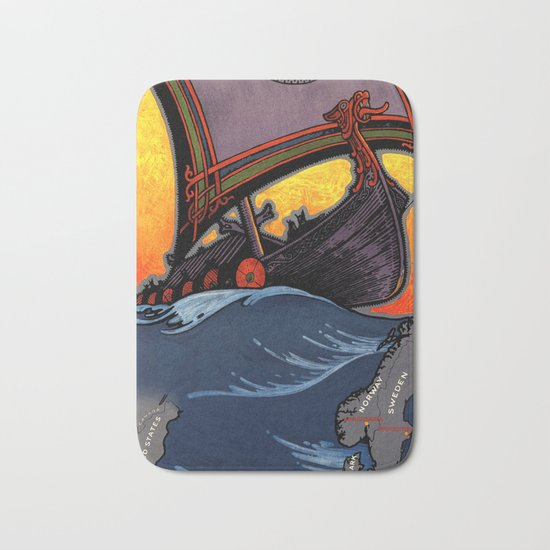 Scandinavia Land of the Vikings - Vintage Travel Bath Mat