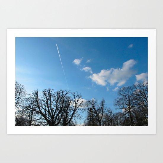 Blue Sky over Richmond Park Art Print