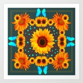 Blue Butterflies Golden Sunflowers Teal Art Art Print