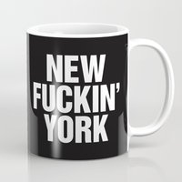 tupac Mugs featuring New Fuckin York by Text Guy