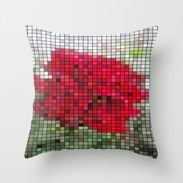 Red Rose Edges Mosaic Throw Pillow