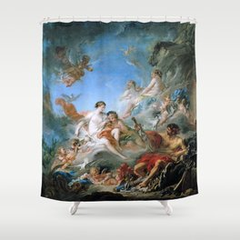 The Forge of Vulcan (Vulcan presenting arms for Aeneas to Venus) - Francois Boucher Shower Curtain