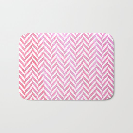 Watercolor Herringbone Chevron pattern - pink on white Bath Mat